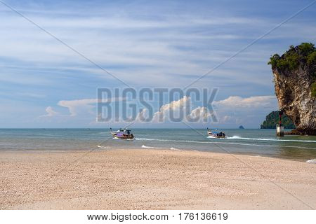 Beach sea and boats at the Andaman Sea