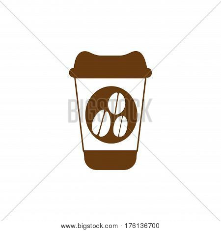 brown glass disposable for hot drinks with lid vector illustration