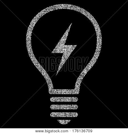 Electric Bulb vector textured icon for overlay watermark stamps. Fabric white vectorized texture. Symbol with scratched design. Rubber seal stamp with fiber textile structure.