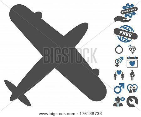 Aeroplane icon with bonus lovely graphic icons. Vector illustration style is flat iconic cobalt and gray symbols on white background.