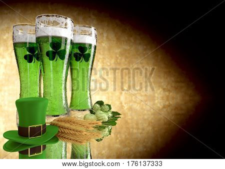 St Patrick's Day concept green beer with shamrock- 3D render