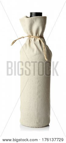 Wine bottle in gift bag on white background