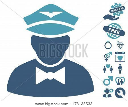 Airline Steward icon with bonus love pictures. Vector illustration style is flat iconic cyan and blue symbols on white background.