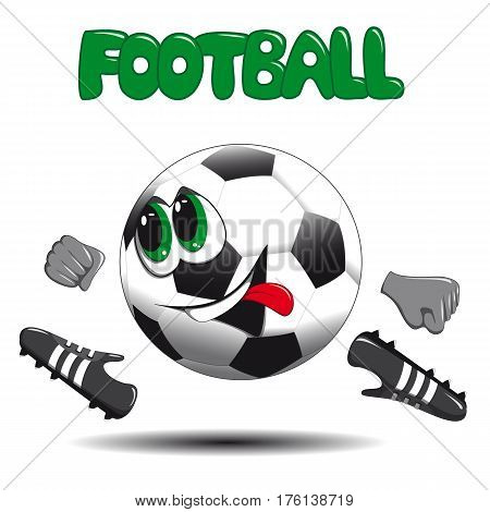 soccer ball on a white background smiling at the boots and runs and the inscription at the top football