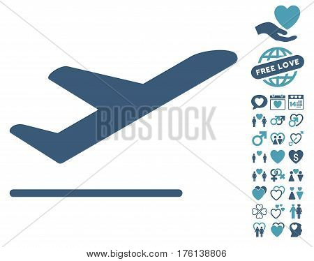 Airplane Departure pictograph with bonus lovely icon set. Vector illustration style is flat iconic cyan and blue symbols on white background.