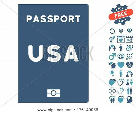 American Passport icon with bonus dating symbols. Vector illustration style is flat iconic cyan and blue symbols on white background.