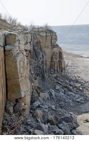 part of the cliffs in quarries and stone