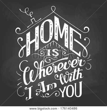 Home Is Wherever I Am With You Chalkboard Sign