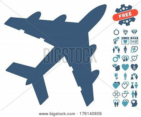 Bomber icon with bonus lovely graphic icons. Vector illustration style is flat iconic cyan and blue symbols on white background.