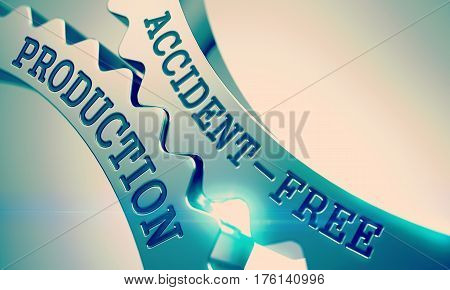 Accident-Free Production on the Mechanism of Metal Gears with Lens Effect - Communication Concept. Accident-Free Production on the Metallic Gears, Business Illustration with Lens Flare. 3D.