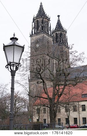 The Magdeburg Cathedral in the city center of Magdeburg