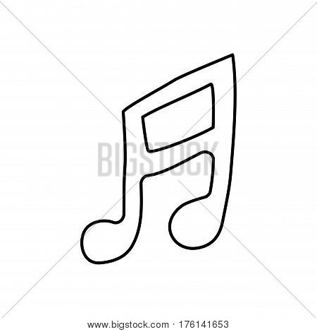 contour musical note icon flat vector illustration