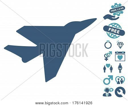 Intercepter icon with bonus dating pictograph collection. Vector illustration style is flat iconic cyan and blue symbols on white background.