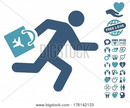Late Airport Passenger pictograph with bonus lovely design elements. Vector illustration style is flat iconic cyan and blue symbols on white background.
