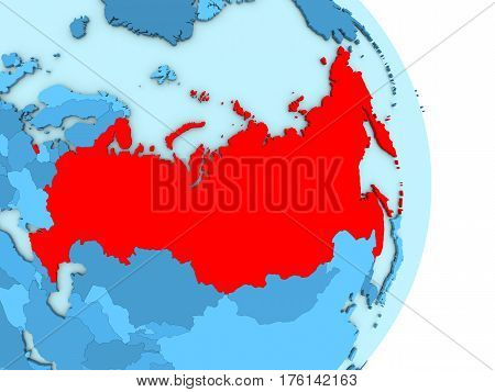 Russia On Blue Political Globe