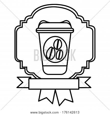 silhouette border heraldic decorative ribbon with glass disposable for hot drinks with lid vector illustration