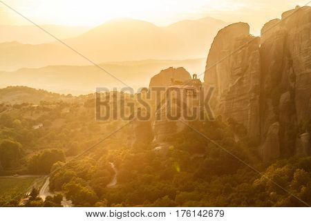 Manstery In Golden Sunset Rays, Meteora, Greece