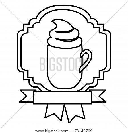 silhouette border heraldic decorative ribbon with mug of cappuccino with cream vector illustration