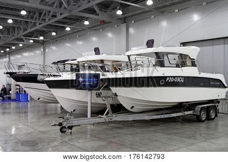 MOSCOW - MARCH 09 2017: Exhibition stand of NORD BOAT for 10 International boat show in Moscow. Russia.