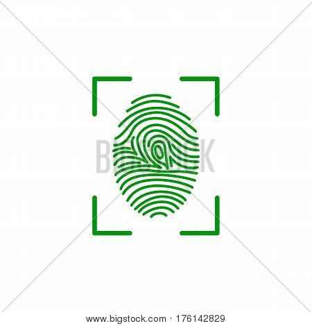 fingerprint green icon image vector illustration design