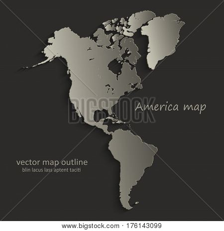 America map outline card blank black vector