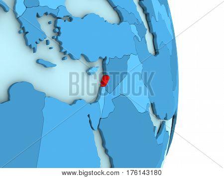 Lebanon On Blue Political Globe