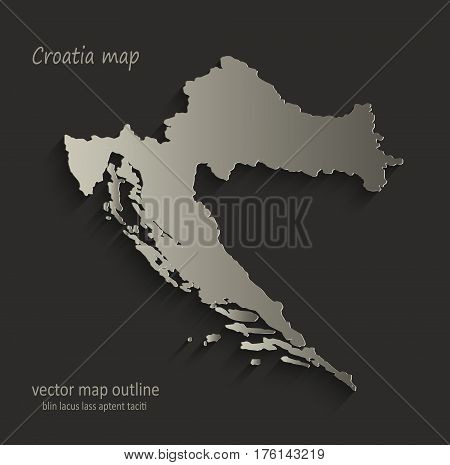 Croatia map outline card blank black vector