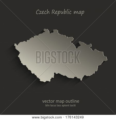 Czech Republic map outline card blank black vector