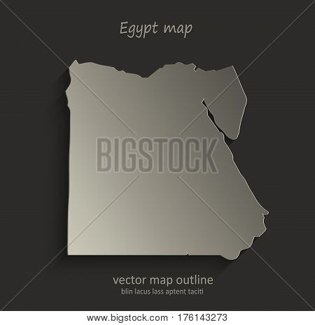 Egypt map outline card blank black vector