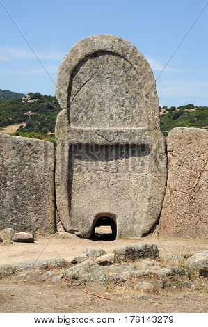Tomb of giants S'ena and Thomes at Dorgali on Sardinia island, Italy