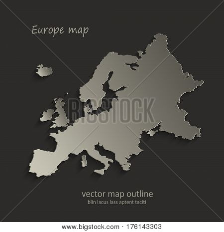 Europe map outline card blank black vector