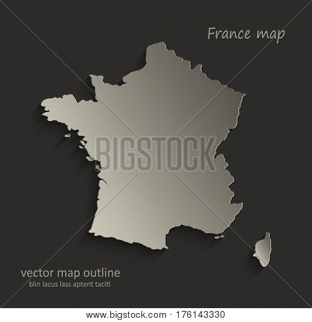 France map outline card blank black vector