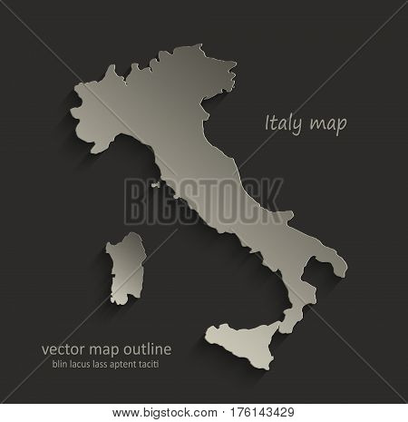 Italy map outline card blank black vector