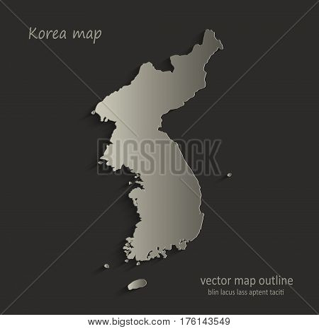 Korea map outline card blank black vector