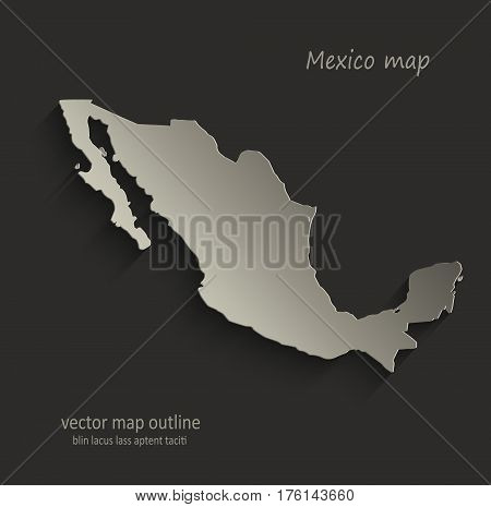 Mexico map outline card blank black vector