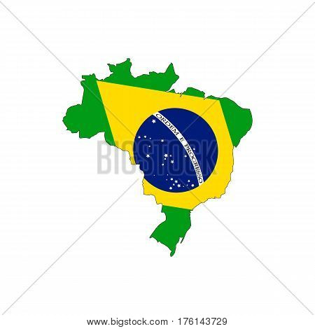 Flag of the Federative Republic of Brazil overlaid on detailed outline map isolated on white background