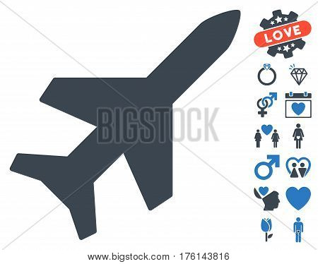 Aeroplane pictograph with bonus lovely clip art. Vector illustration style is flat iconic smooth blue symbols on white background.