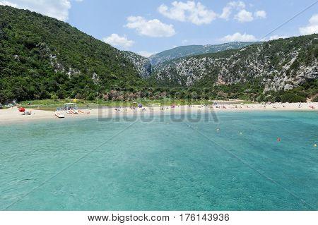 Cala Luna, italy - 26 June 2012: Cala Luna beach in Orosei bay on Sardinia Italy.