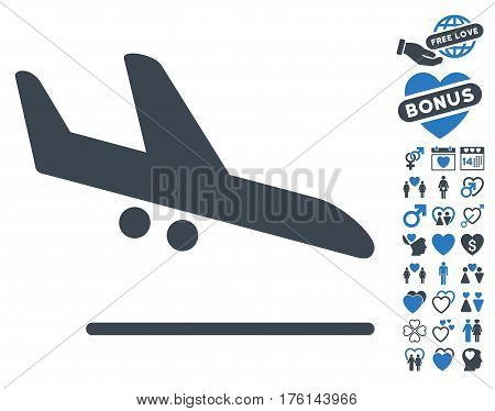 Aiplane Landing icon with bonus lovely pictograph collection. Vector illustration style is flat iconic smooth blue symbols on white background.