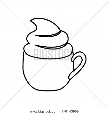 silhouette cup of cappuccino with cream vector illustration