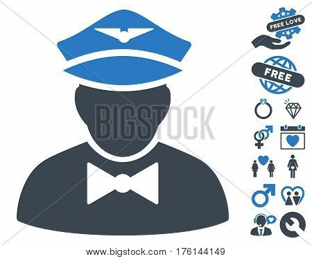 Airline Steward icon with bonus dating pictograms. Vector illustration style is flat iconic smooth blue symbols on white background.