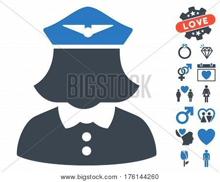 Airline Stewardess pictograph with bonus lovely icon set. Vector illustration style is flat iconic smooth blue symbols on white background.