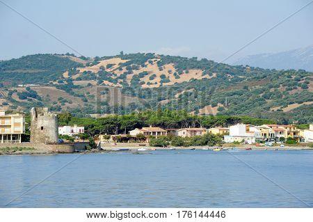Santa Lucia, Italy - 25 June 2013: Village and tower of Santa Lucia near Siniscola on the island of Sardinia Italy