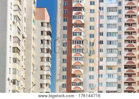 Background of apartments in a multi-storey building.
