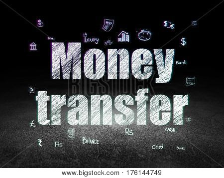 Banking concept: Glowing text Money Transfer,  Hand Drawn Finance Icons in grunge dark room with Dirty Floor, black background