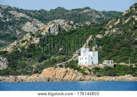 The coast at Capo Comino on the island of Sardinia Italy