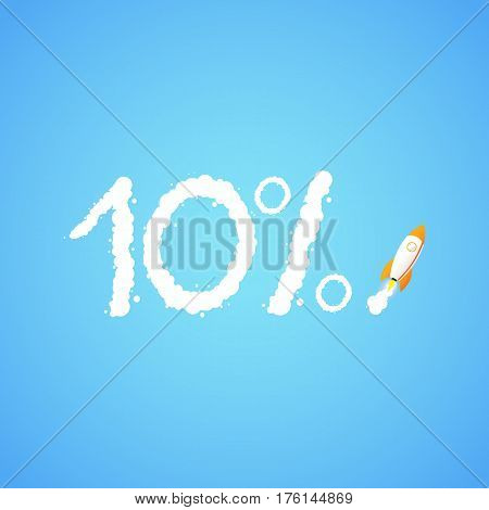 Rocket And The Space. The Rocket Flies Making The Ten Percent Sign. Concept.  Start Up, Business And
