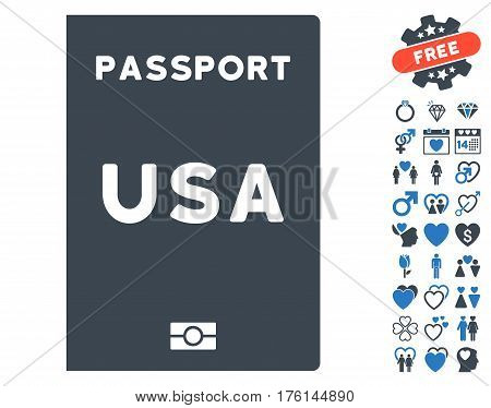 American Passport icon with bonus lovely icon set. Vector illustration style is flat iconic smooth blue symbols on white background.