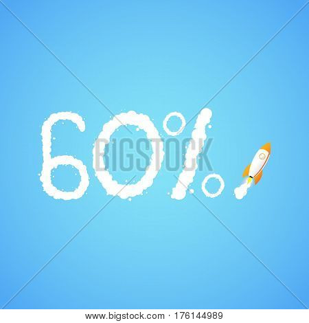 Rocket And The Space. The Rocket Flies Making The Sixty Percent Sign. Concept.  Start Up, Business A