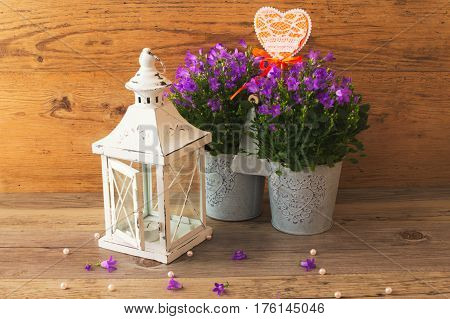 Amazing candlestick lamp and beautiful campanula flowers with the symbol of love, heart.